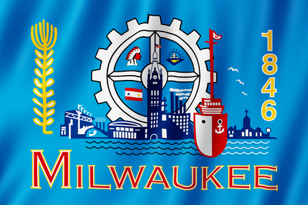 Flag of Milwaukee city, Wisconsin (US) 3d illustration