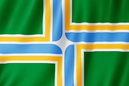 Flag of Portland city, Oregon (US) 3d illustration 写真素材 - 110374148
