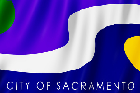 Flag of Sacramento city, California (US) 3d illustration Stock Photo