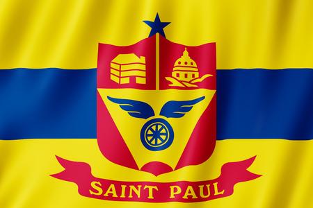 Flag of Saint Paul city, Minnesota (US) 3d illustration Stock Photo