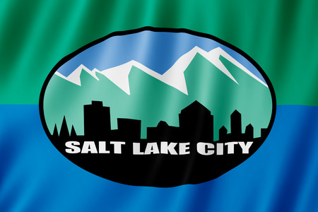 Flag of Salt Lake city, Utah (US) 3d illustration 版權商用圖片