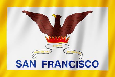 Flag of San Francisco city, California (US) 3d illustration