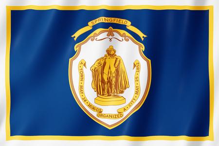 Flag of Springfield city, Massachusetts (US) 3d illustration 版權商用圖片