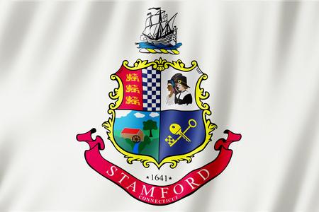Flag of Stamford city, Connecticut (US) 3d illustration
