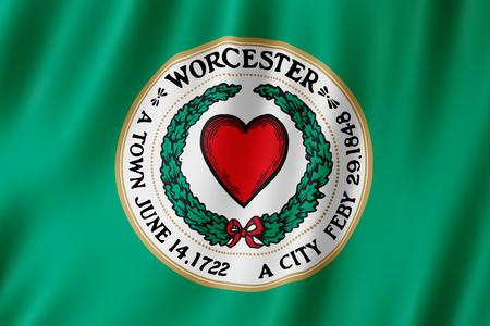 Flag of Worcester city, Massachusetts (US) 3d illustration