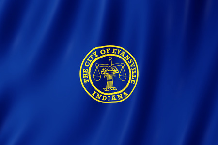 Flag of Evansville city, Indiana (US) 3d illustration Stock Illustration - 110374208