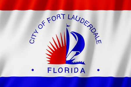 Flag of Fort Lauderdale city, Florida (US) 3d illustration Stock Photo