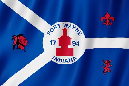 Flag of Fort Wayne city, Indiana (US) 3d illustration Stock Photo
