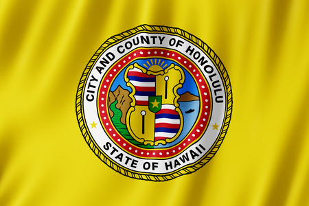 Flag of Honolulu city, Hawaii (US) 3d illustration Stock Photo