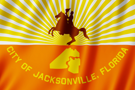 Flag of Jacksonville city, Florida (US) 3d illustration 写真素材