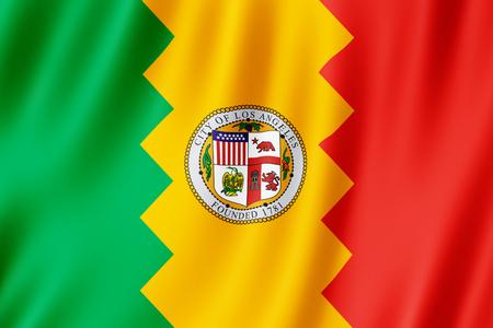 Flag of Los Angeles city, California (US) 3d illustration 스톡 콘텐츠