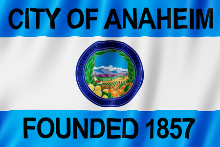 Flag of Anaheim city, California (US) 3d illustration