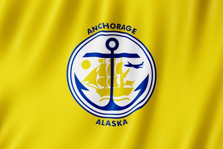 Flag of Anchorage city, Alaska (US) 3d illustration 写真素材