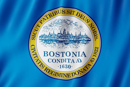Flag of Boston city, Massachusetts (US) 3d illustration