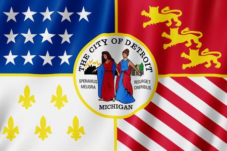 Flag of Detroit city, Michigan (US) 3d illustration