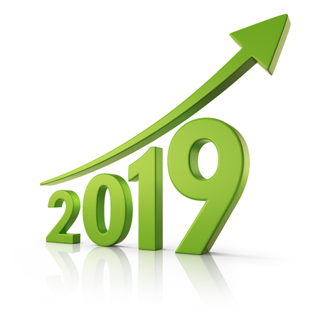 2019 3d with green arrow curving upwards Stock Photo