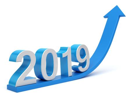 2019 3d with arrow curving upwards