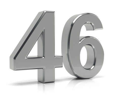 Silver number 46 isolated on white background Stock Photo
