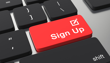 Sign up button on keyboard.