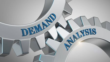 Demand analysis written on gear wheel Stock Photo