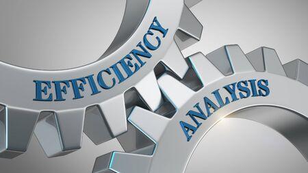 Efficiency analysis written on gear wheel Banco de Imagens
