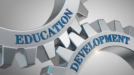 Education development written on gear wheel