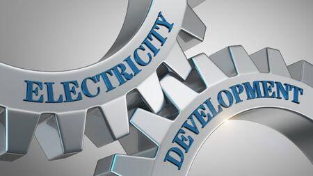 Electricity development written on gear wheel