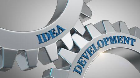 Idea development written on gear wheel