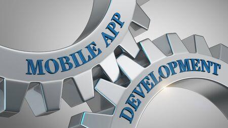 Mobile app development written on gear wheel Stockfoto