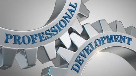 Professional development written on gear wheel Stock Photo