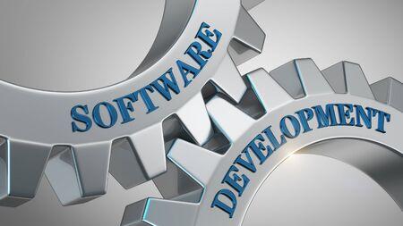 Software development written on gear wheel Stockfoto