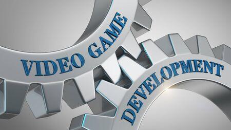 Video game development written on gear wheel Stockfoto
