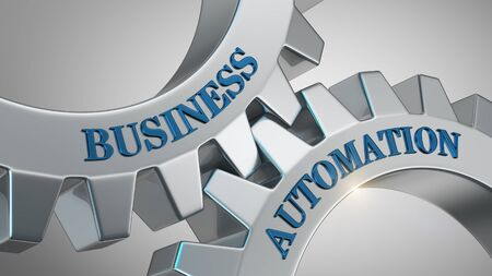Business automation written on gear wheel Stockfoto