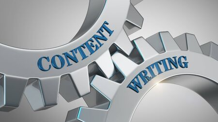 Content writing written on gear wheel Stock Photo