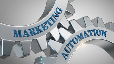 Marketing automation written on gear wheel