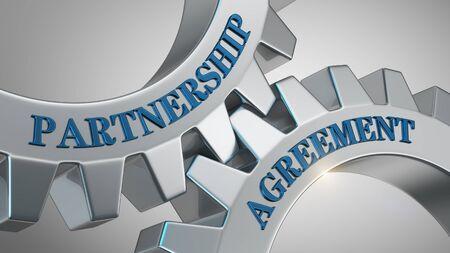 Partnership agreement written on gear wheel