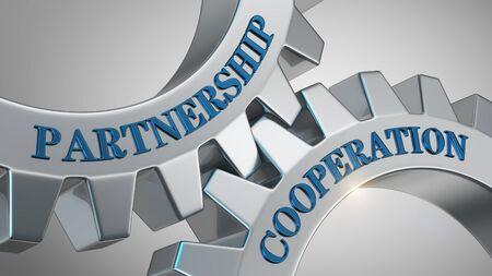 Partnership cooperation written on gear wheel