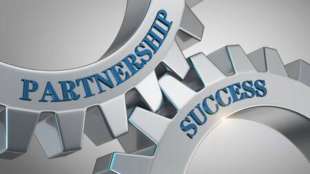 Partnership success written on gear wheel