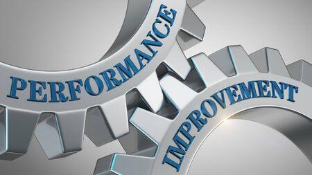 Performance improvement written on gear wheel Stockfoto