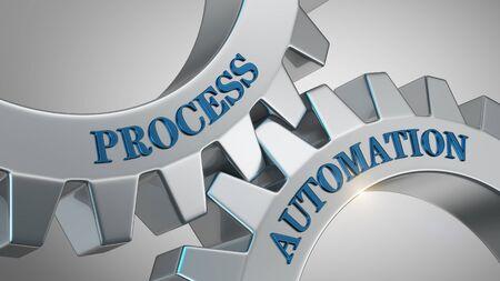 Process automation written on gear wheel Stockfoto