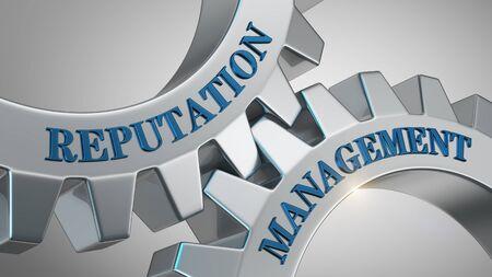 Reputation management written on gear wheel Stockfoto