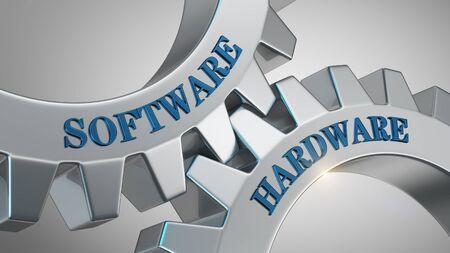 Software hardware written on gear wheel