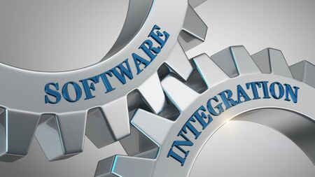 Software integration written on gear wheel Stockfoto