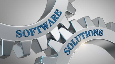 Software solutions written on gear wheel Stock Photo