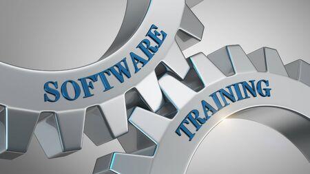 Software training written on gear wheel Stockfoto