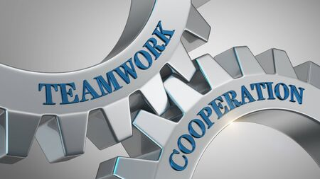 Teamwork cooperation written on gear wheel