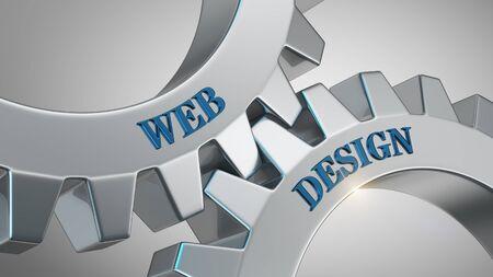 Web design written on gear wheel
