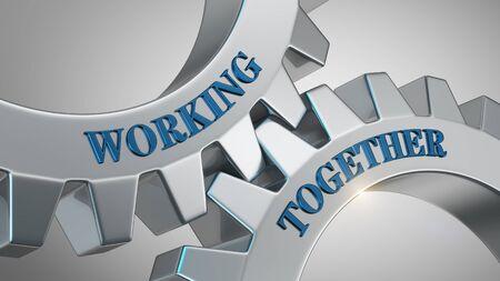 Working together written on gear wheel Stockfoto