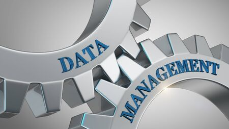 Data management written on gear wheel Stockfoto