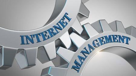 Internet management written on gear wheel Stockfoto